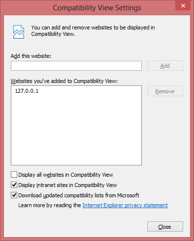 Compatibility View Settings 2